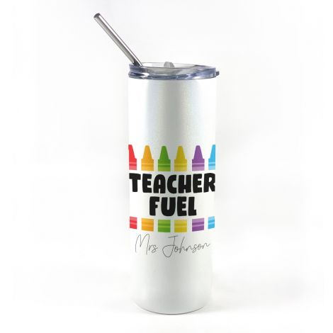 """20 oz tumbler with straw featuring design of crayons, the phrase """"Teacher Fuel"""" and an area to personalize with your name."""