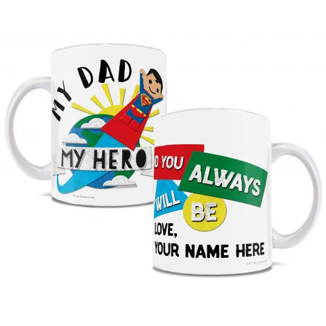 This officially licensed DC Comics Dad mug featuring Superman is a perfect personalized gift for kids of any age to give to their dad.