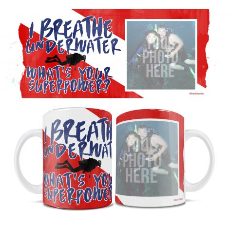 Let the scuba diver in your life show off their passion with a personalized white ceramic mug, complete with their photo.
