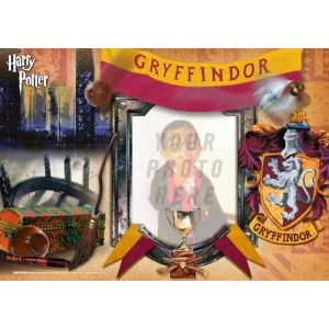 """Harry Potter Gryffindor House 12"""" x 8"""" MightyPrint Wall Art. Personalize with your favorite wizard, witch or muggle by uploading a photo!"""