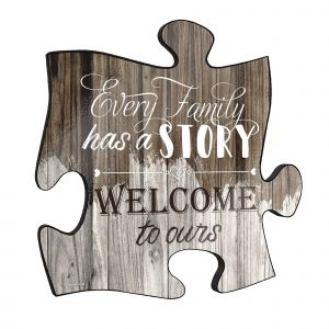 """Every family has a story. Welcome to ours! This unique 12"""" x 12"""" wooden puzzle piece wall art is perfect for wherever you call home."""