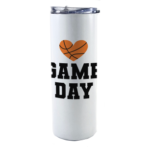 """20 oz tumbler with straw featuring the phrase """"Game Day"""" and a basketball in the shape of a heart along with personalized name and number."""
