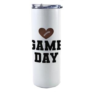 """20 oz tumbler with straw featuring the phrase """"Game Day"""" and a football in the shape of a heart along with personalized name and number."""
