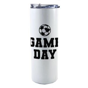 """20 oz tumbler with straw featuring the phrase """"Game Day"""" and a baseball in the shape of a heart along with personalized name and number"""