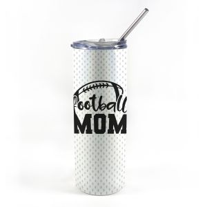 """20 oz tumbler with straw featuring the phrase """"Football Mom"""" along with personalized name and number."""